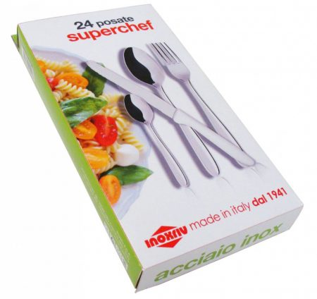Superchef 24 részes evőeszközkészlet pizzavágó/bifsztek késsel